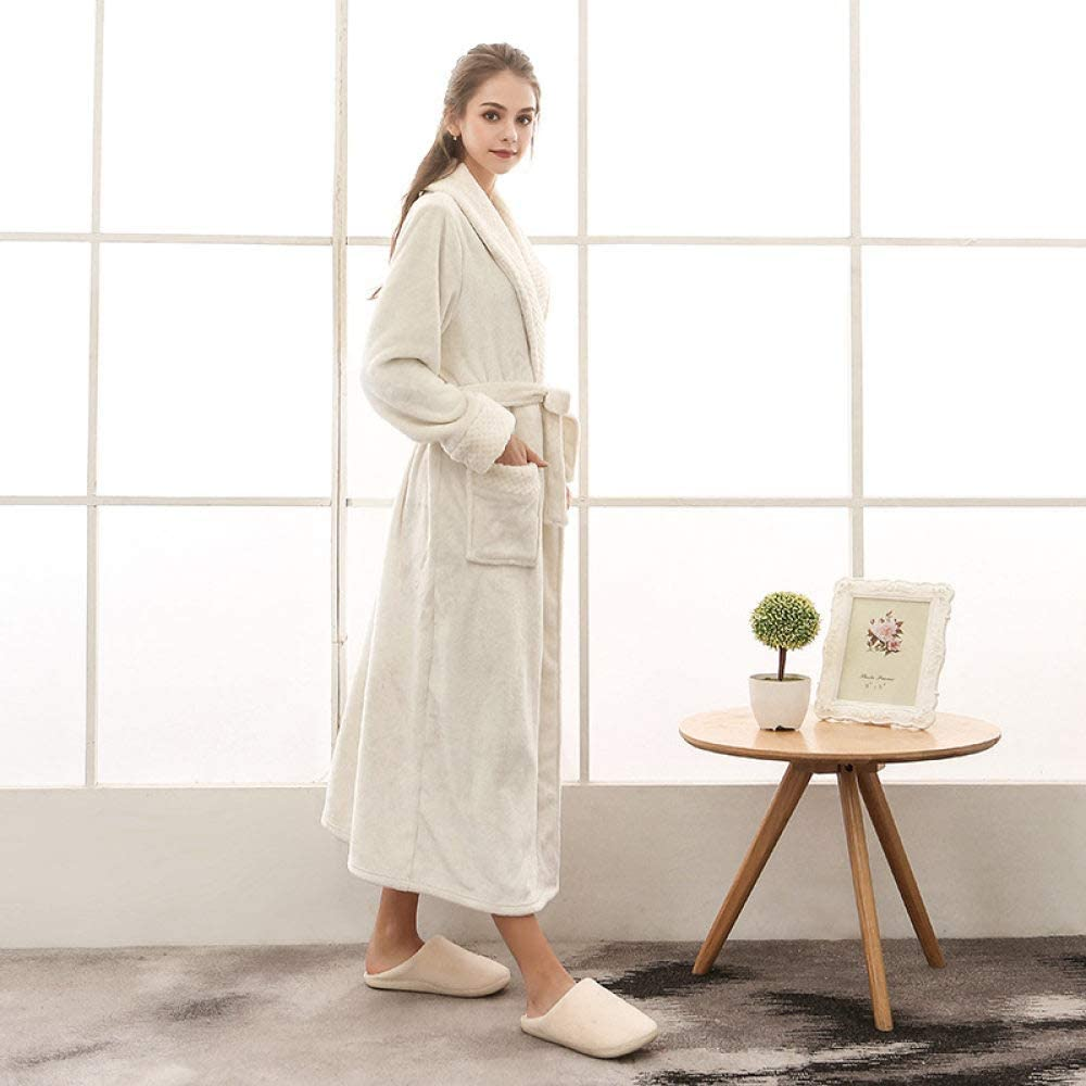 HONGYAOJIAJU Robes for Women, Thicken Kimono Robes Ladies Soft Warm Pajamas Sleepwear Womens Winter White Flannel Coral Nightgowns Long Bathrobe for Home Clothing Dressing Gown