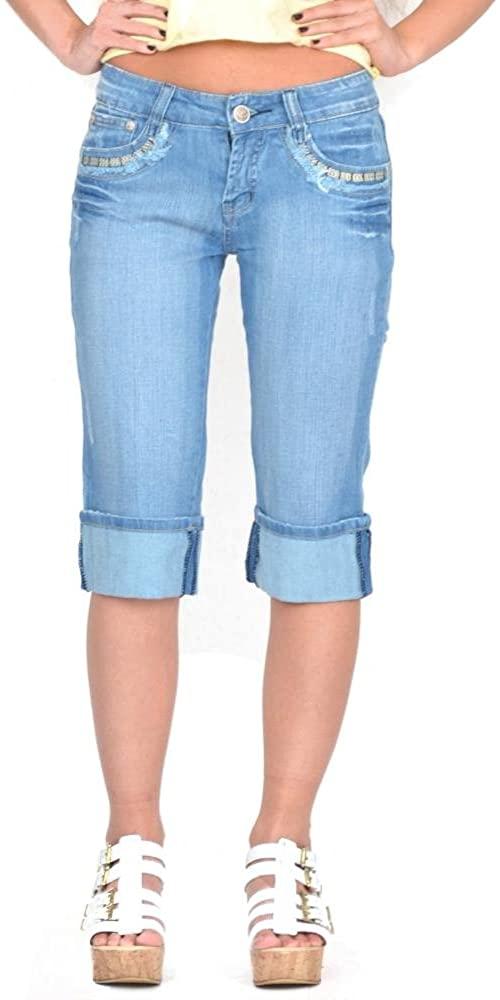 Long Faded Jean Denim Shorts - Blue