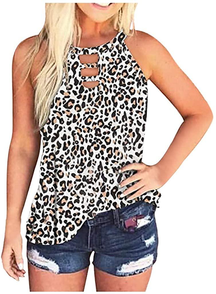 SHOBBW Womens Casual Summer Fashion Comfy Leopard/Tie-Dye Sleeveless Tank Top Blouse Shirts