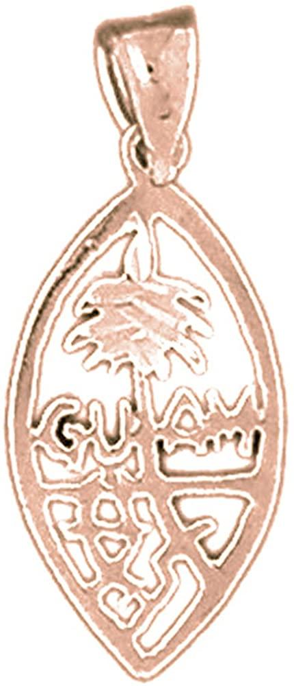 Jewels Obsession Solid 14K Rose Gold Guam Pendant - 25 mm