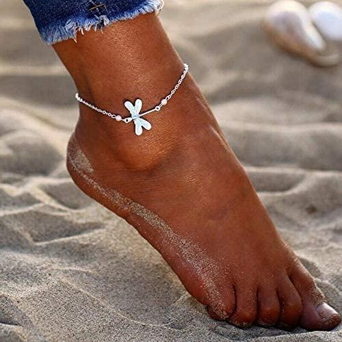 Jewelryjintarawateestore Women Fashion Silver Dragonfly Pearl Ankle Bracelet Anklet Foot Chain Jewelry