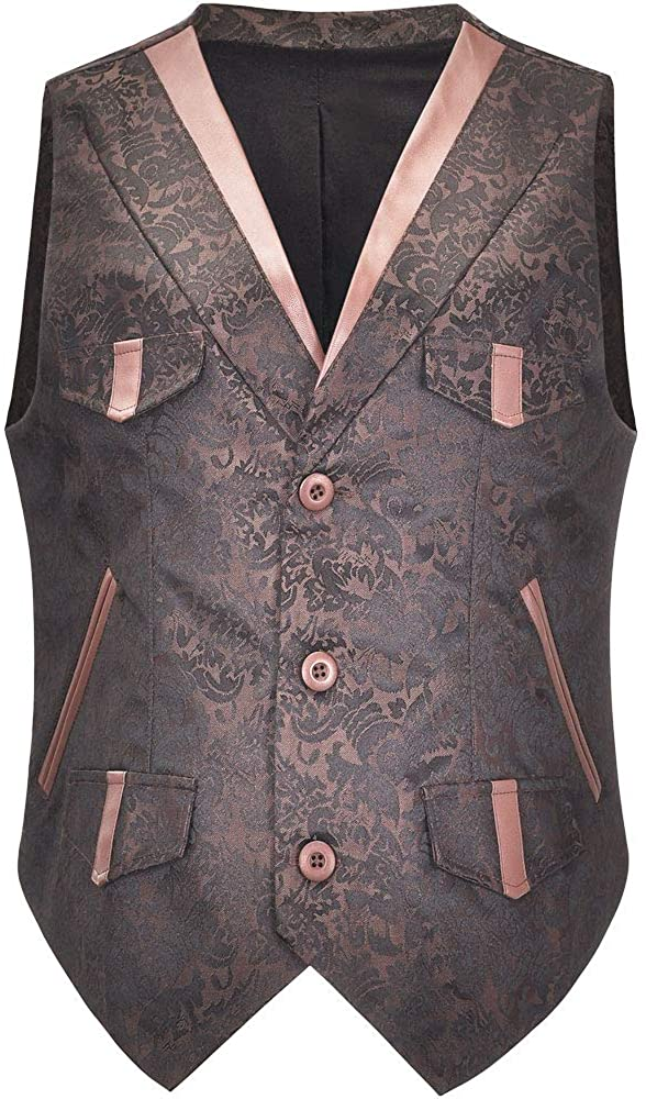 Mens Hipster V Neck Slim Fit Victorian Steampunk Gothic Retro Wind Jacquard Vest