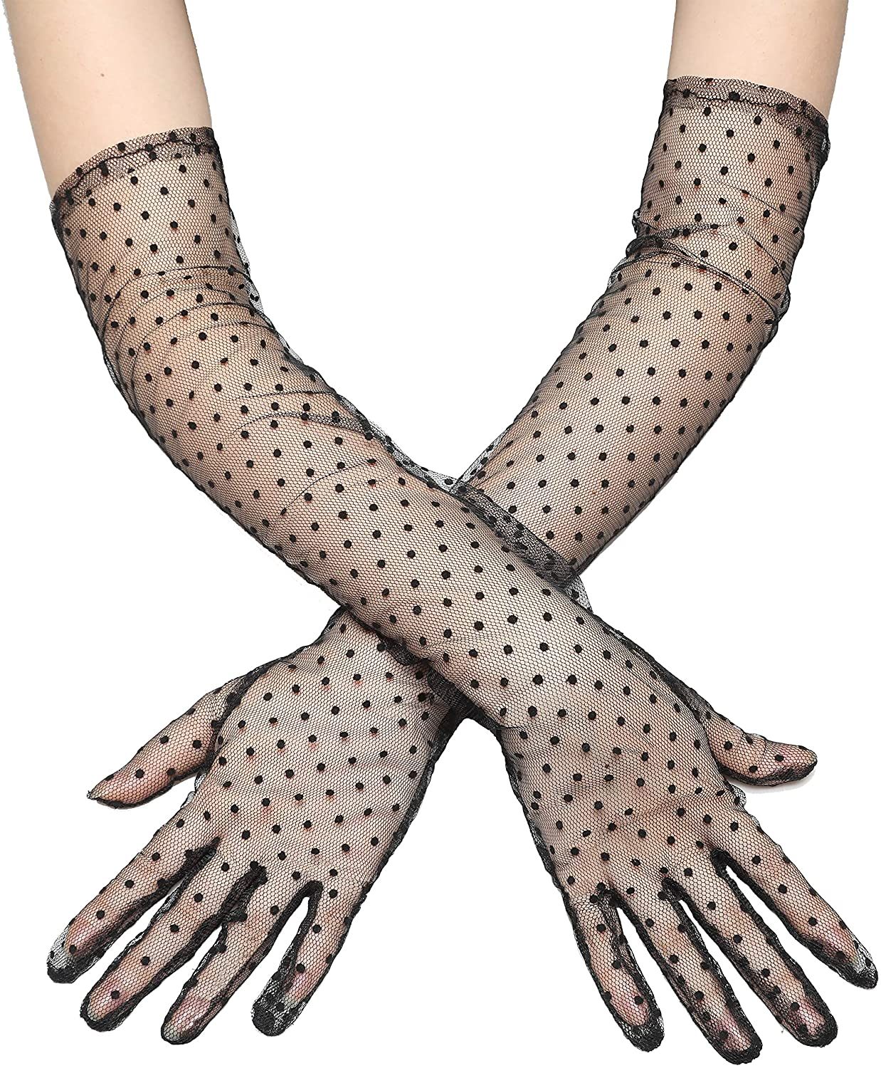 BABEYOND 1920s Long Tulle Dot Gloves Black Opera Gloves Prom Evening Gloves Wedding Special Occasion Gloves for Costume Party