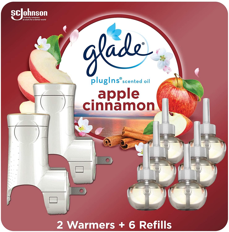 Glade PlugIns Refills Air Freshener Starter Kit, Scented Oil for Home and Bathroom, Apple Cinnamon, 4.02 Fl Oz, 2 Warmers + 6 Refills