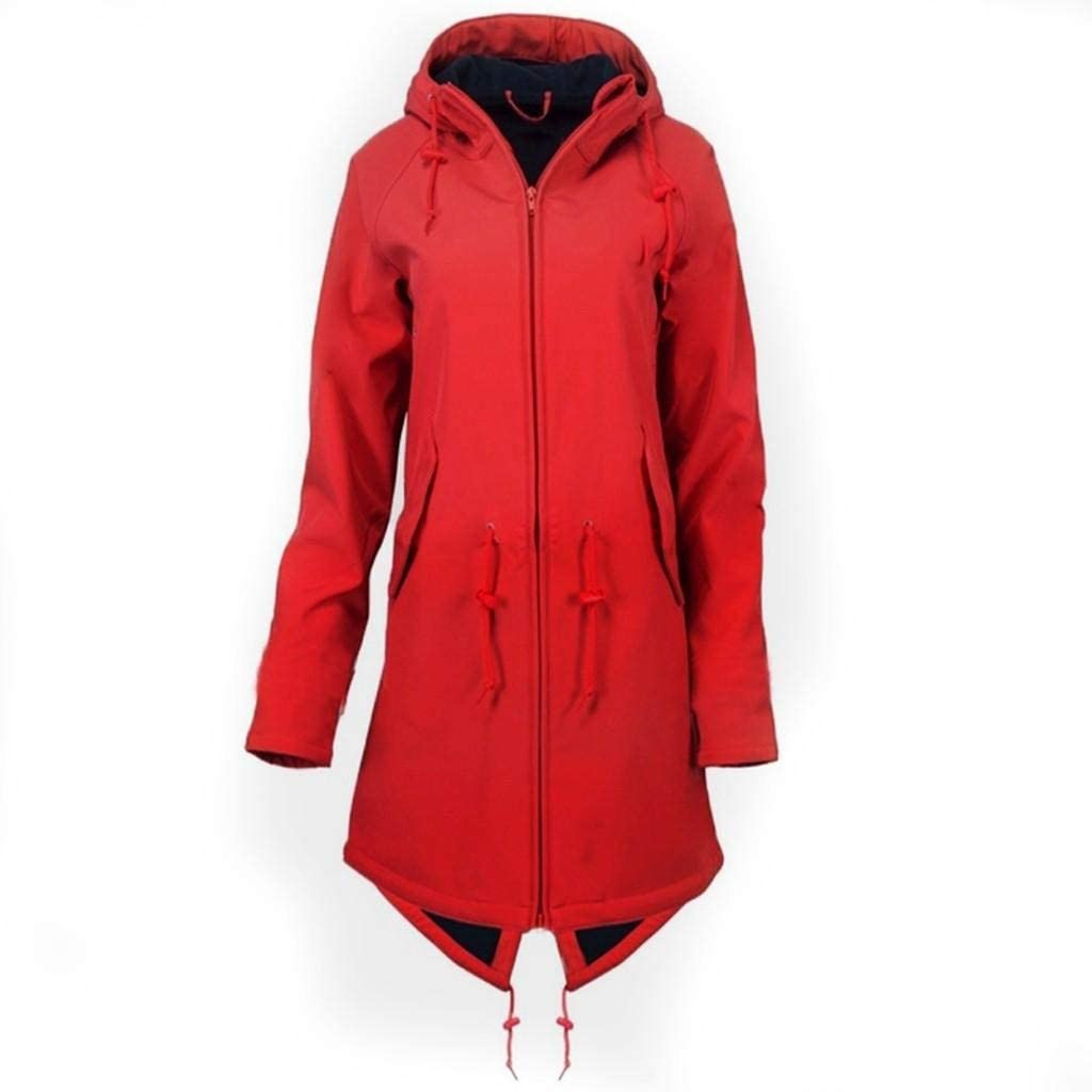 terbklf Women Waterproof Lightweight Rain Jacket Active Outdoor Hooded Raincoat Rain Coats for Women Windproof Jacket