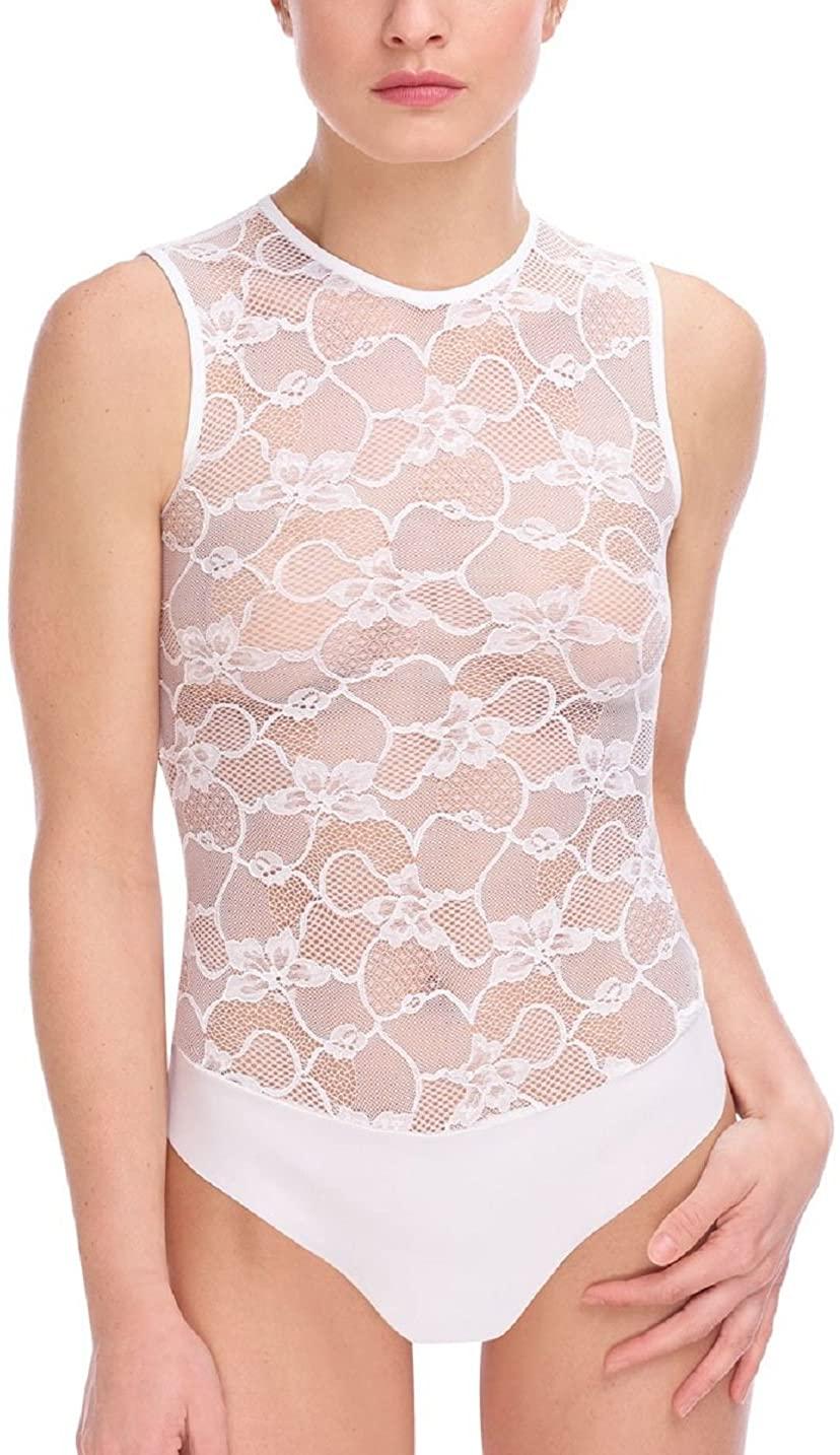 commando Floral Lace Signature Bodysuit - BDS660 Medium White