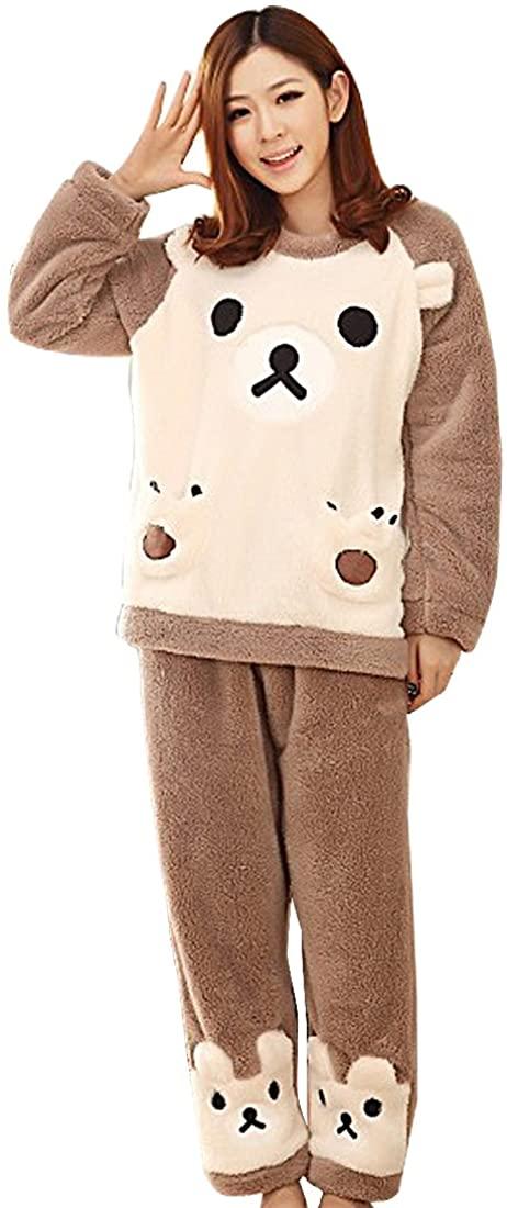 New Women Winter Coral Fleece Pajama Sets Animal Long Sleeve Sleepwear Nightwear