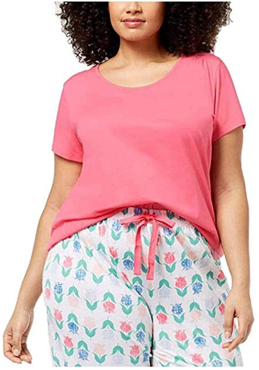 Charter Club Women's Plus Size 100% Cotton Knit Pajama Top, Morning Glory Pink, XXX-Large