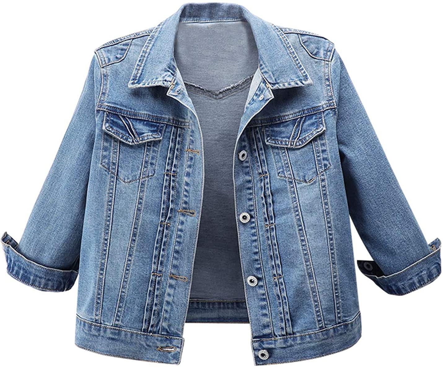 Omoone Women's 3/4 Sleeve Cropped Slim Distressed Denim Trucker Jacket Shrug Top