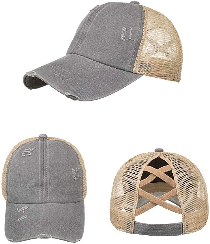 Newlike Ponytail Unconstructed Washed Dad Hat Messy High Bun Ponycaps Plain Baseball Cap