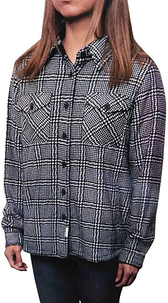 Soho Threads Women's Sherpa-Lined Shirt Jacket, Black/White Houndstooth (Medium)