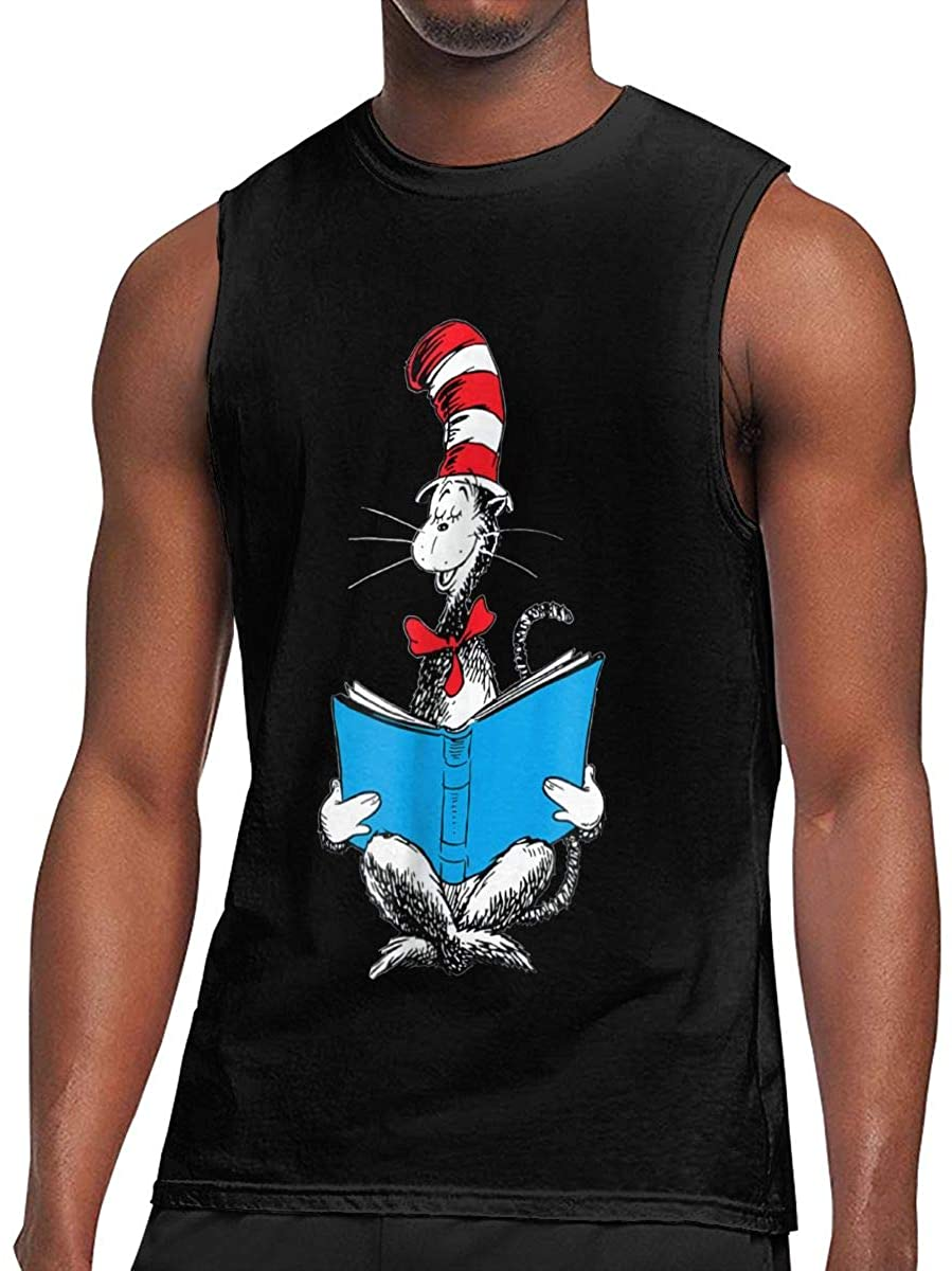 Dr. Seuss Reading Cat Men's Sleeveless Tee Personality Tank Top