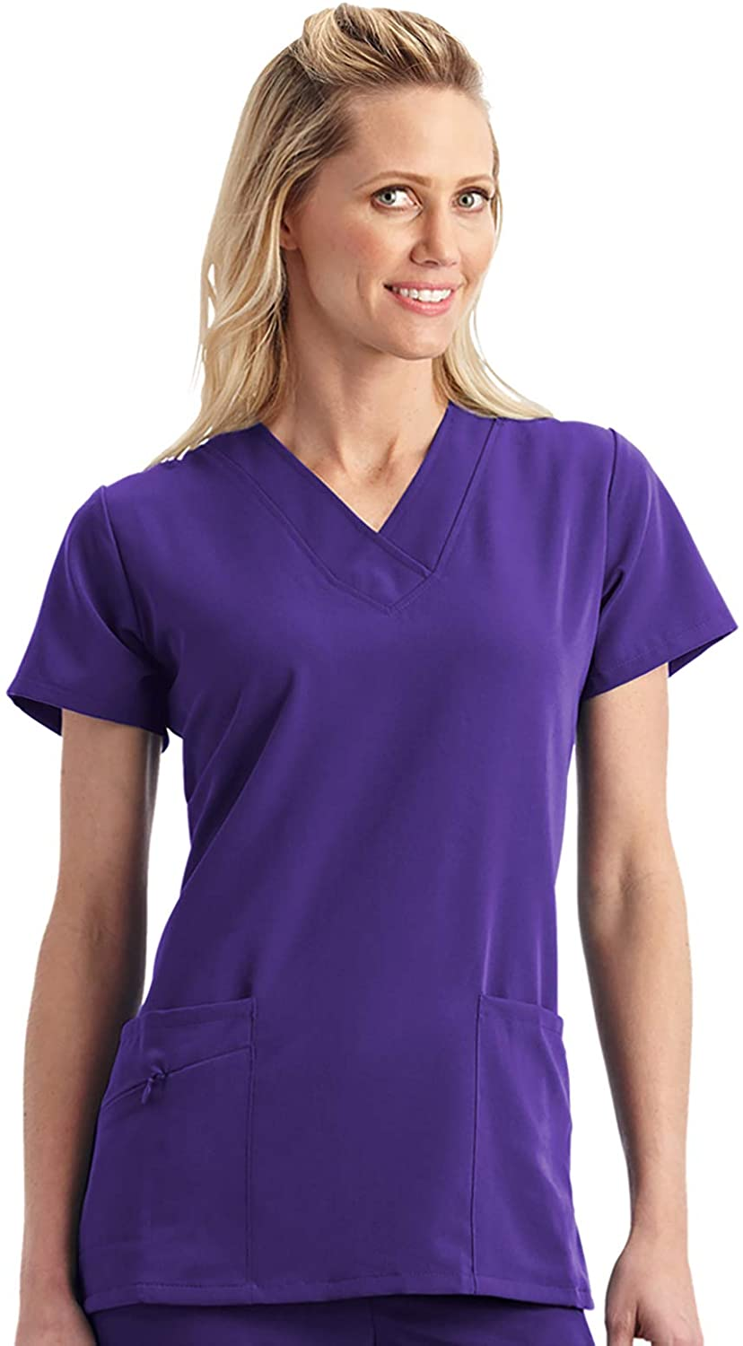 Jockey Women's Scrubs Women's V-Neck Crossover Scrub Top, Purple, XL