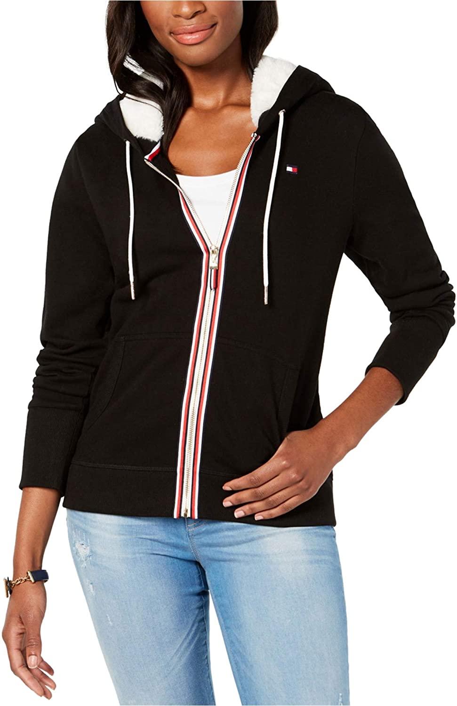 Tommy Hilfiger Womens Faux Fur Hoodie Sweatshirt