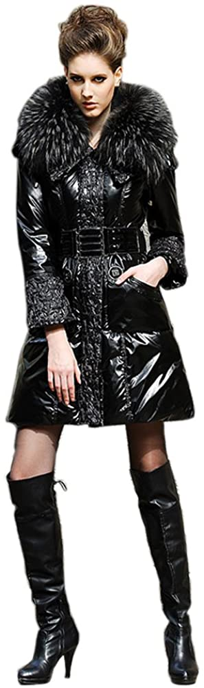 Queenshiny Long Womens Down Coat Jacket with Raccoon Collar with Hood
