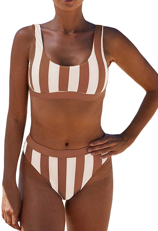 BIKINX Sexy Swimsuit for Women Two Piece Bathing Suits Floral Print Striped Bikini Set
