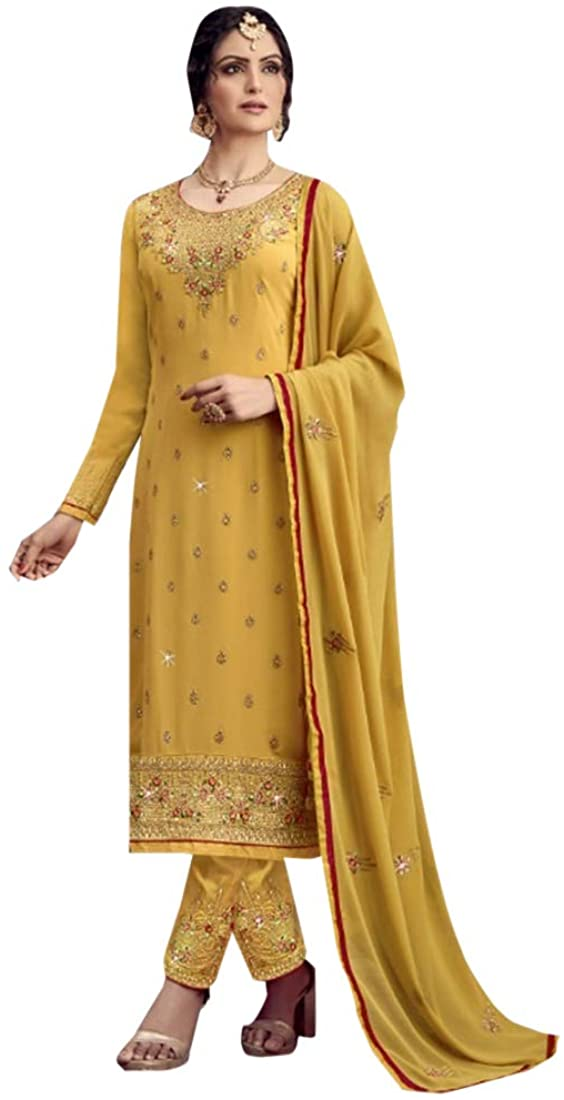 8932 Yellow Indian Hit Georgette Straight Suit Heavy Embroidery work Pakistani Churidar Party Wedding Cocktail Wear Ethnic Women Girls Semi stitched