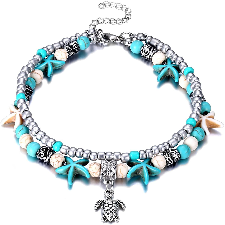 Fesciory Puka Shell Anklet for Women Summer Natural Cowrie Adjustable Ankle Bracelet, Handmade Boho Hawaiian Beach Seashell Jewelry for Girls