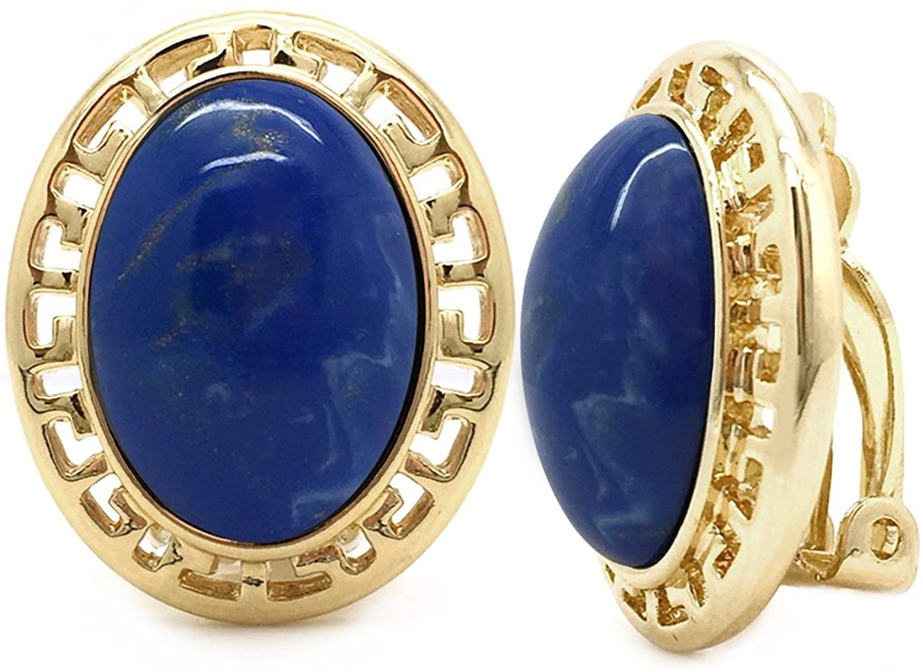 Sparkly Bride Clip On Earrings Oval Greek Key Resin Gold Plated Women Fashion