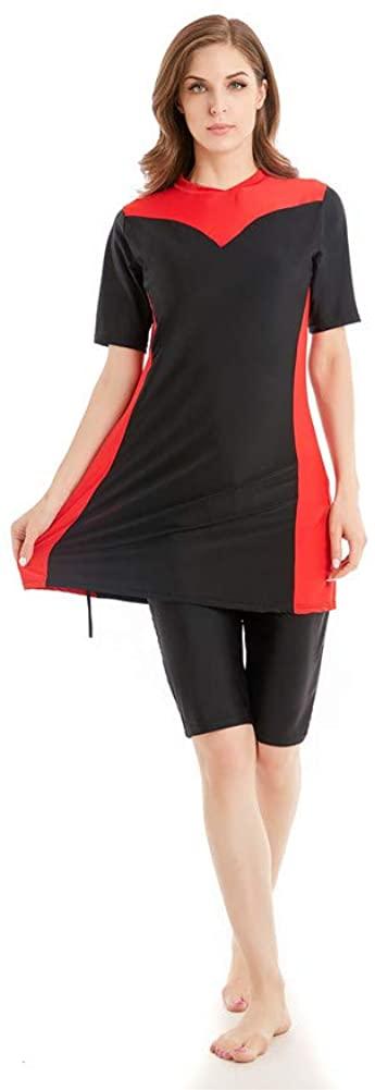 Womens Modest Muslim Burkini Swimwear Rash Guard Surfing Suit Maillot Short Sleeve Swimsuit (Red, 4X-Large)