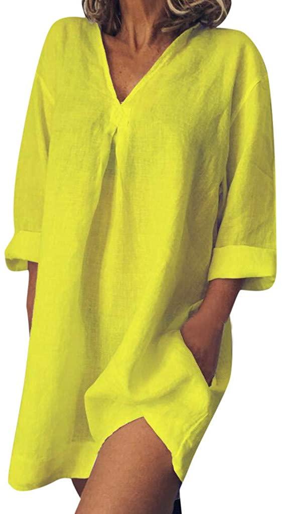 Palarn Summer Beach Boho Tops&Dresses, Women Loose Casual Pure Color V Neck Long Sleeved Summer Dress