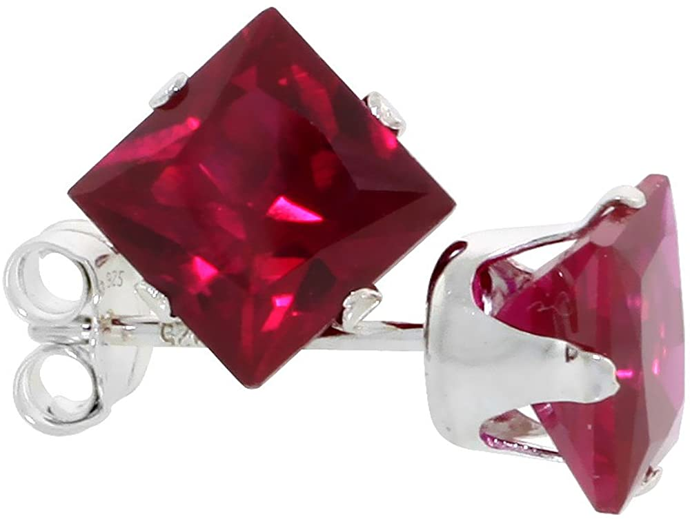 10 Pair Set Sterling Silver Cubic Zirconia Square Ruby Earrings Studs 6 mm Princess cut Red Color 2.5 carats/pair