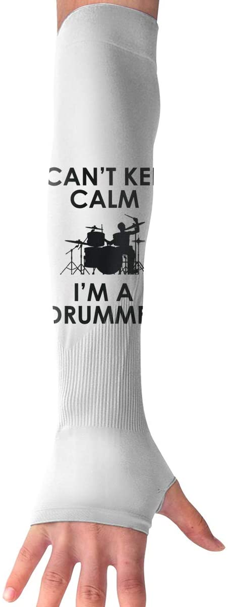 WAY.MAY I Can't Keep Calm,I'm A Drummer Sun Protection Sleeve Long Arm Fingerless Gloves Outdoor Sleeve