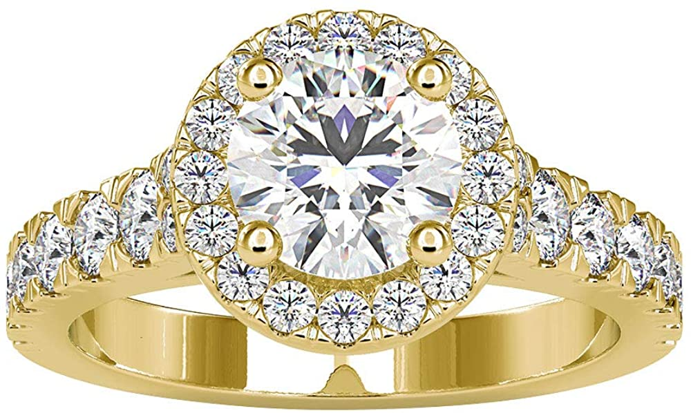 2.31 Ct Certified Moissanite Gold Wedding Ring, Classic Women Statement Promise Ring, DE-VS1 Color Clarity Gemstone Halo Ring, Solitaire Bridal Ring