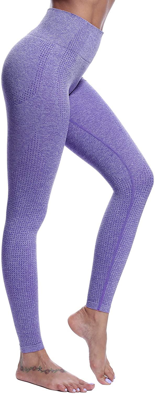 DOYOG Women's High Waist Slim Yoga Pants Fitness Tummy Control Workout Gym Pants Seamless 5 Way Stretch Yoga Leggings Purple