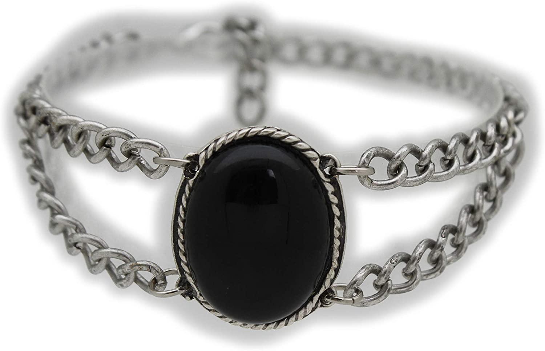TFJ Women Western Fashion Jewelry Antique Silver Metal Boot Chain Bracelet Shoe Anklet Bling Black Bead Charm