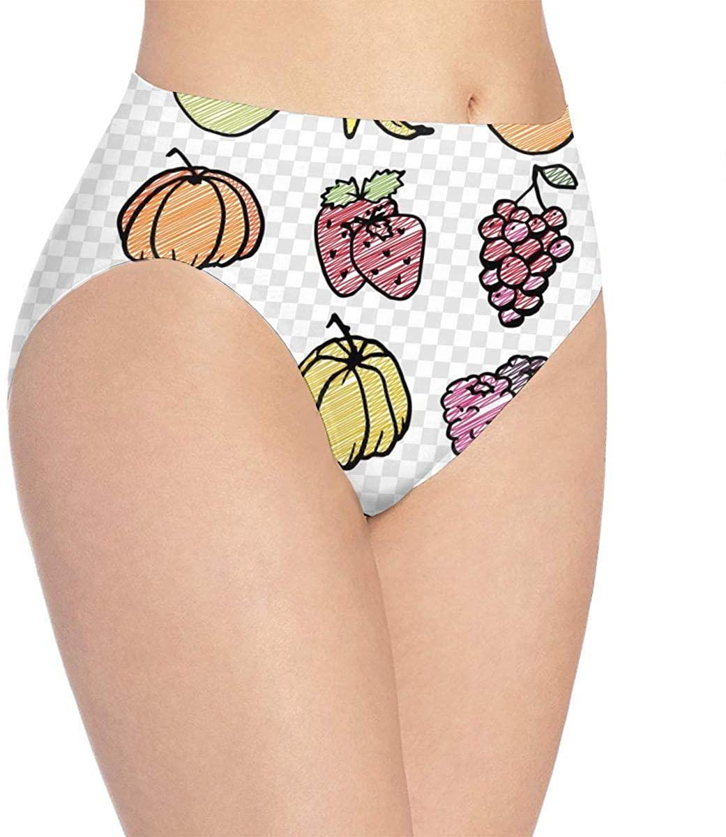 Womens Underwear Cute Fruit Set, Pineapple, Watermelon Trendy Bikini Brief Hipster Panties Panty Ladies