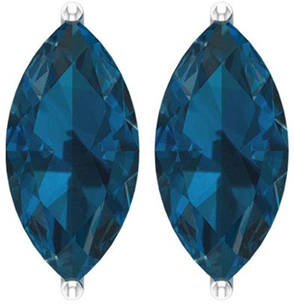 2.4 Ct Certified Blue Topaz London Earring, Statement Women Stud Earring, Marquise Shape Gemstone Bridal Earring, Classic Solitaire Wedding Earring, Screw back