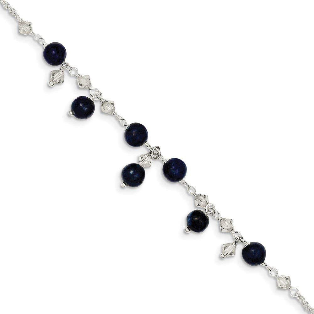 Solid 925 Sterling Silver Shade Crystal/Simulated Lapis Bracelet (6mm)