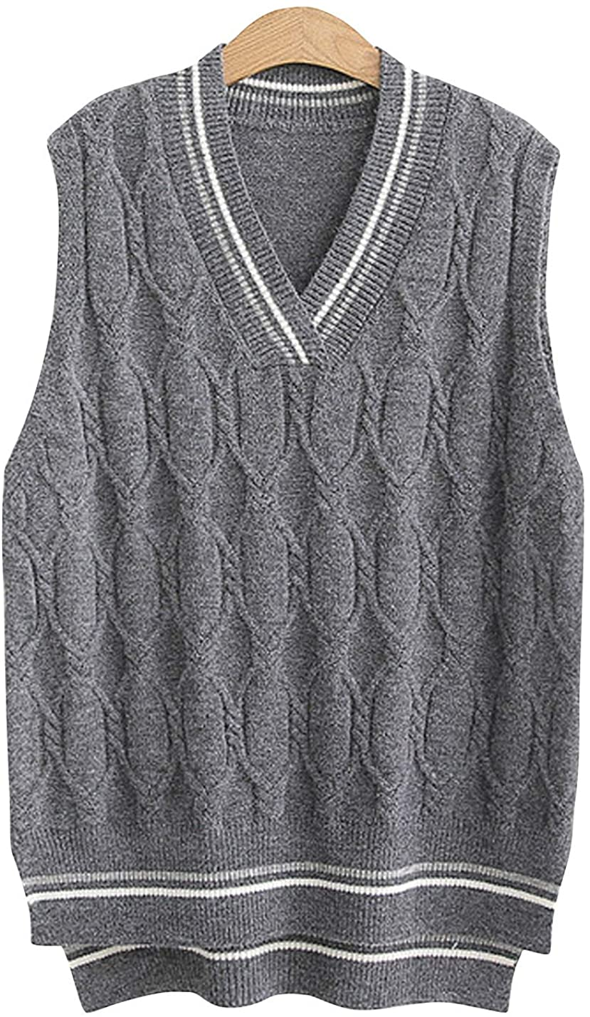 HUPOO Women's V Neck Sweater Vests Striped Pullover Knitted Vests Waistcoats