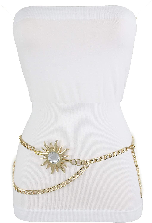 TFJ Women Fashion Skinny Belt Hip High Waist Gold Metal Chain Big Sun Charm Buckle Plus Size XL XXL