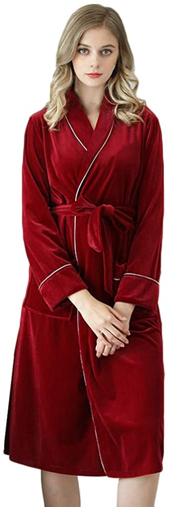 HDGTSA Women's Bathrobes Underwear Long Sleeves Robe Keep Warm Nightdress Skirt Pajamas