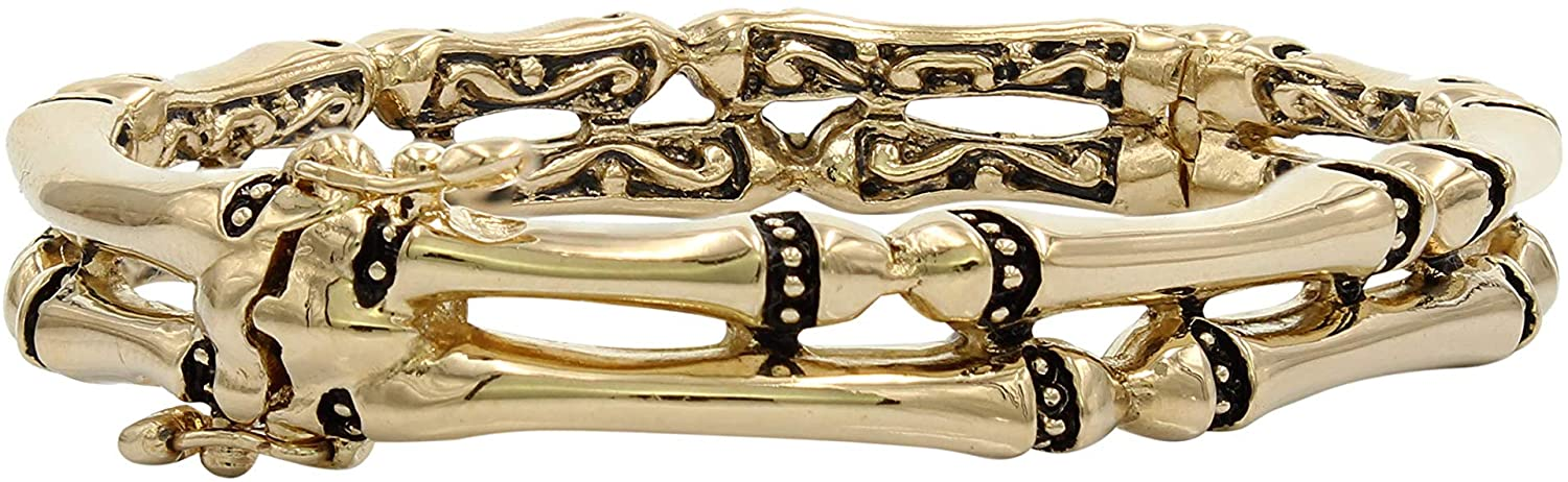 John Medeiros Canias Collection Handcrafted Gold-Tone Two Row Hinged Bangle Bracelet Made in America