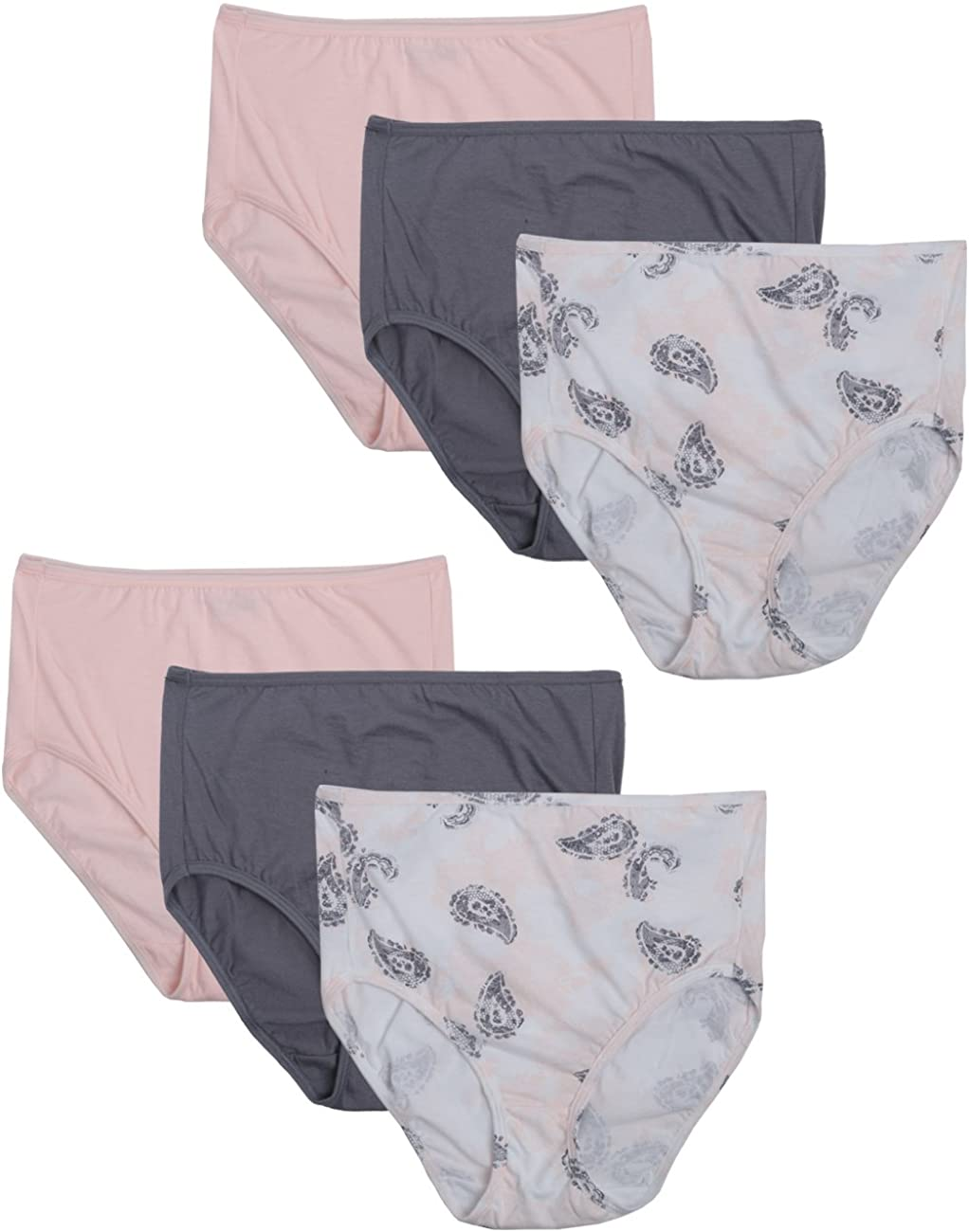 Bali Women's Luxe Cotton 6 Pack Brief Panty, Assorted