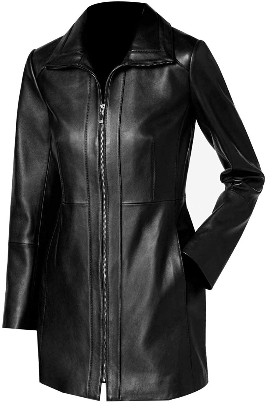 T&I Texas Stylish Black Leather Jacket for Women