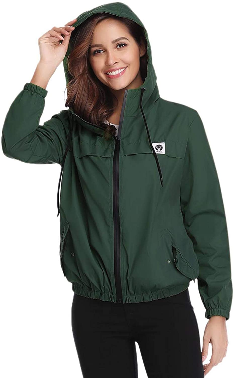Aibrou Women Rain Jacket Lightweight Waterproof Coat Jacket Windbreaker with Hooded