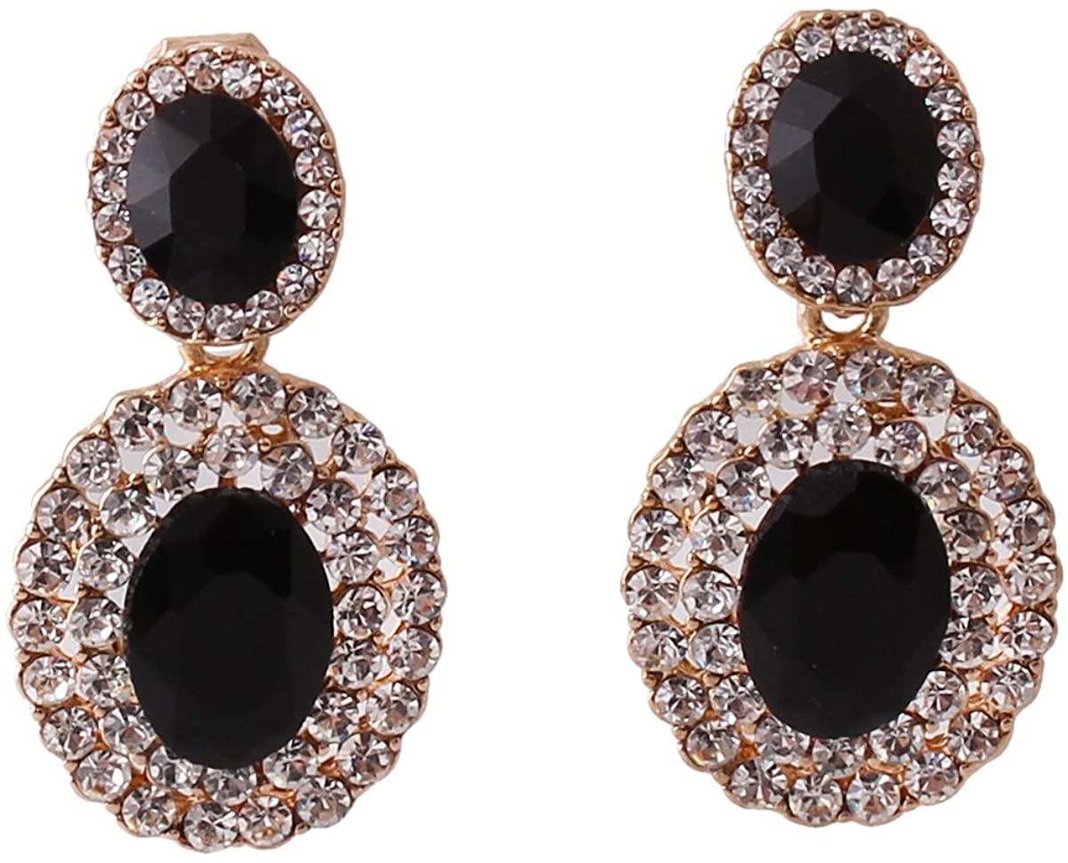 Grace Jun 2017 New Big Rhinestone Crystal Clip on Earrings Without Piercing and Dangle Drop Earrings