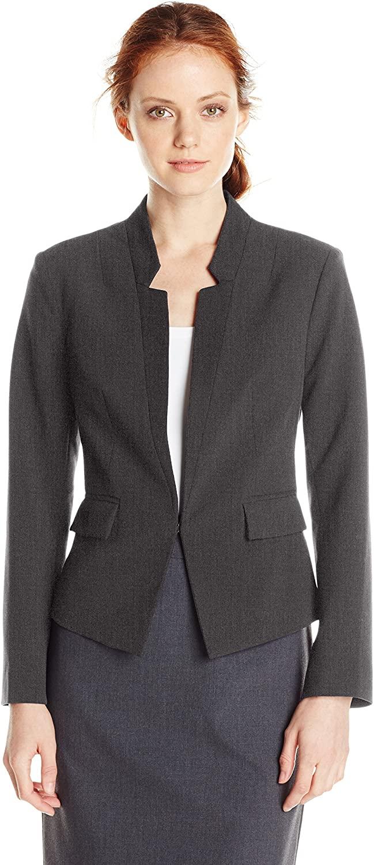 ELLEN TRACY Women's Size Inverted Rever Jacket, Charcoal, 12 Petite