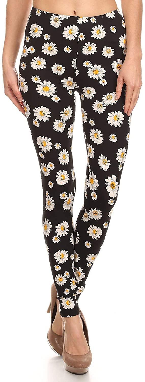 Women's Regular Beautiful Floral Pattern Printed Leggings - Flower Tribal Aztec Reindeer Snowflake Camo