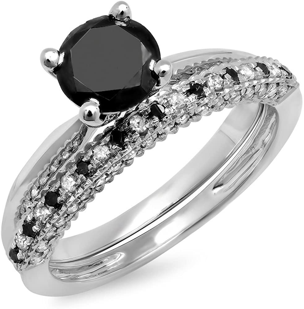 Dazzlingrock Collection 1.50 Carat (ctw) 10K Gold Black & White Diamond Ladies Bridal Solitaire Engagement Ring Set 1 1/2 CT