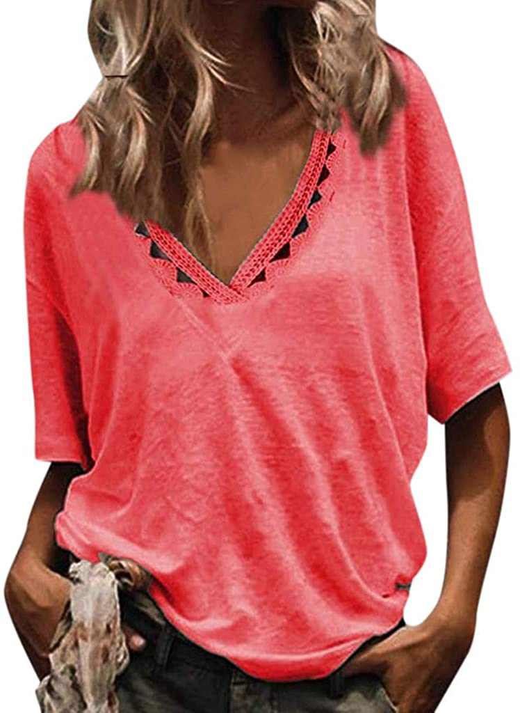 Womens Summer Short Sleeve T Shirts V Neck Tunic Hollow Out Solid Tops Tees Loose Casual Workout Shirts