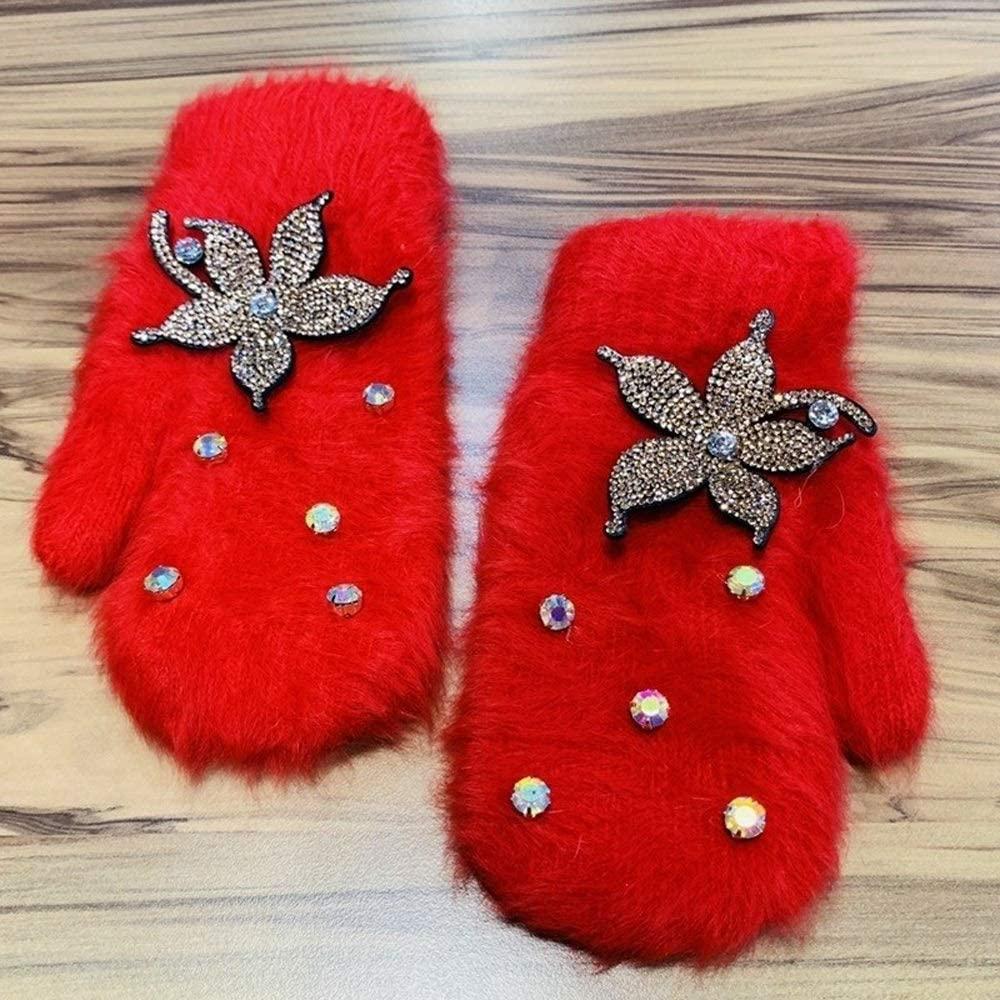 Slowoi Women Winter Gloves Luxury Rhinestone Flower Mittens Distaff Wide Finger Gloves (Color : Red, Size : 1)