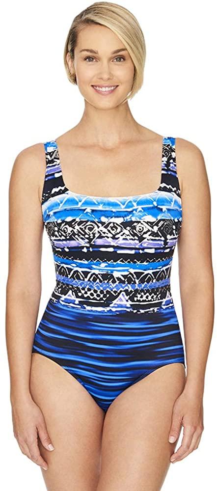 Longitude Women's Swimwear Midnight Rendezvous Double X-Back Tank Long Torso One Piece Swimsuit