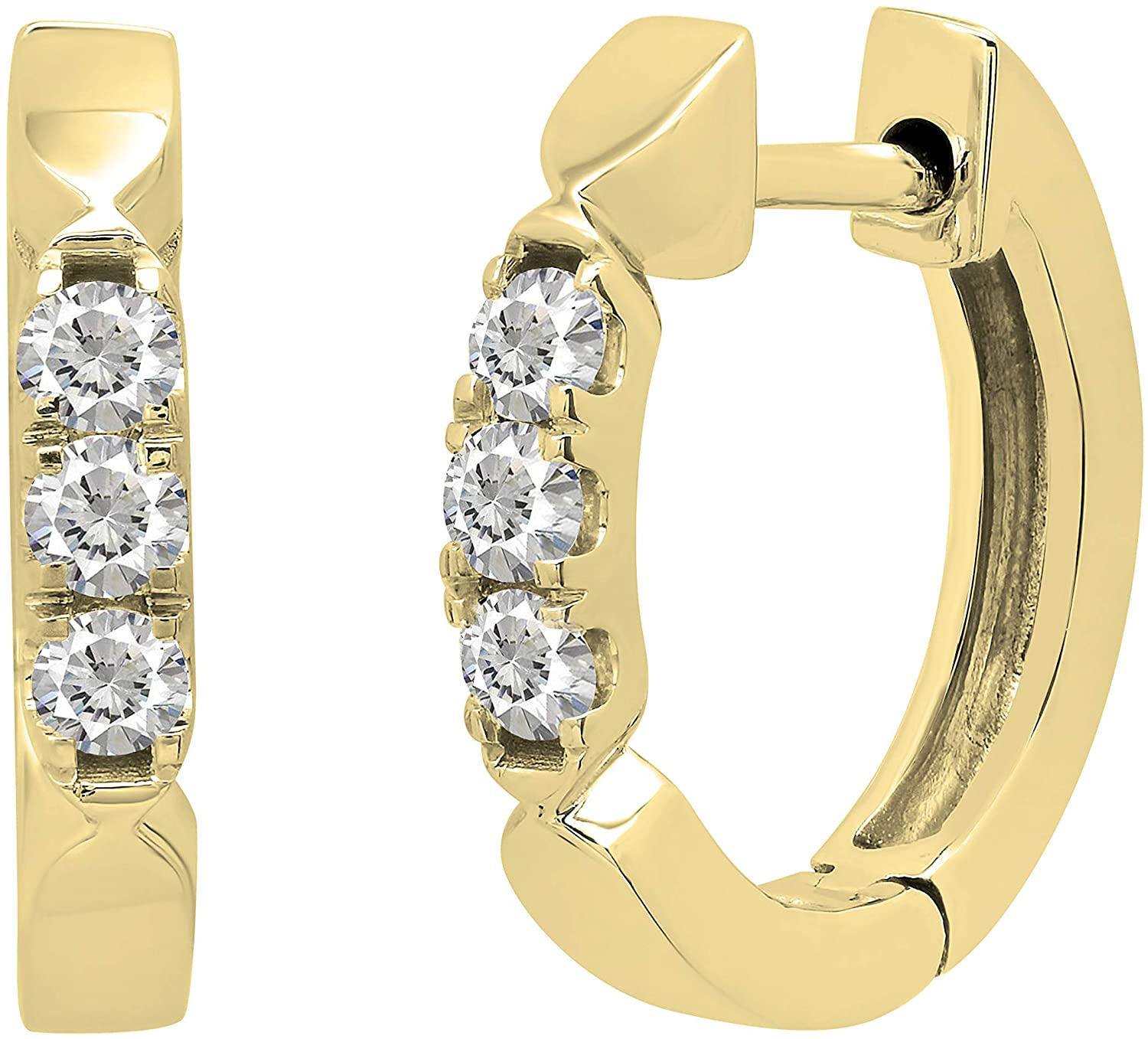Dazzlingrock Collection 0.20 Carat (ctw) Round Lab Grown White Diamond Ladies 3 Stone Huggies Hoop Earrings 1/5 CT, Available in 10K/14K/18K Gold & 925 Sterling Silver