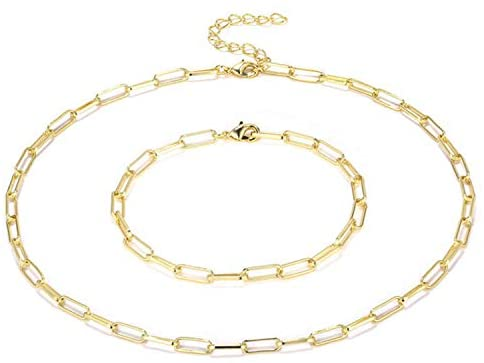 The Belcher's 14K Gold Plated Paperclip Chain Choker Collar Necklace Set Chunky Oval Link Bracelet Stud Earrings Dainty Layering for Women Girls Punk Geometric Personalized Jewelry