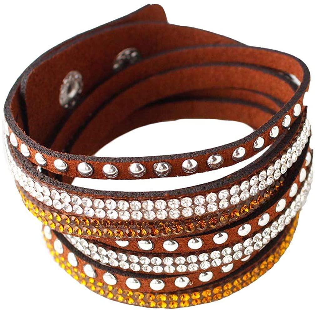 YAZILIND Leather Wrap Bracelets Rhinestone and Muti-Colour Beads Cuff Bangle, Charm Multilayer Bracelet Women Jewelry